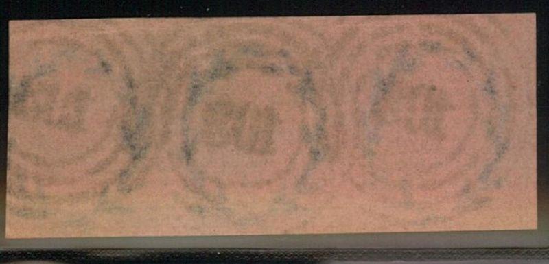 1850, Dreierstreifen 1 Sgr. Friedrick Wilhlem IV mit Nr-Stempel
