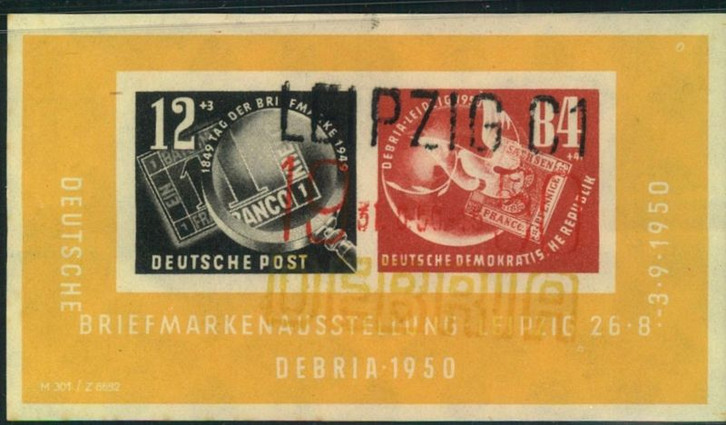 1950, Block 7, DEBRIA-Block mit 3-farbigem Sonderstempel