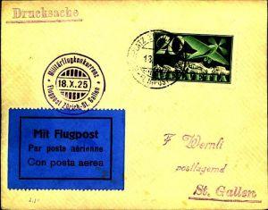 1925: Militärflugkonkurrenz, Flug Zürich-St. Gallen, Dübendorf
