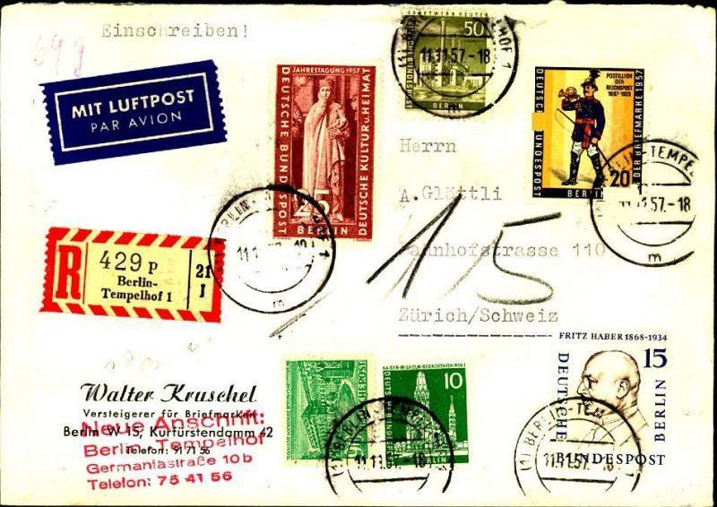 1957: hoch frankiertes Luftposteinschreiben ab TEMPELHOF mit schweizer Nachporto