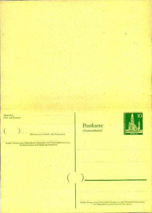 10 Pfg. Bauten II ungebrauchte Doppelkarte ( P 39)