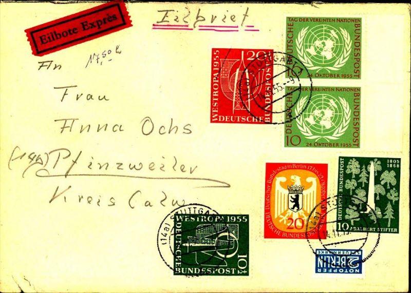 1955: hoch frankierter Eilbrief aus STUTTGART
