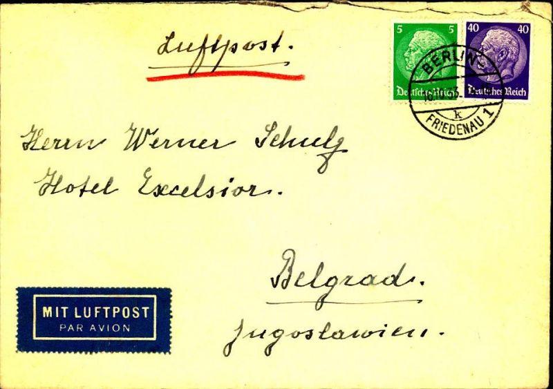 1933: Luftpostbrief ab BERLIN-FRIEDENAU 1 mit besserer Hindenburg-Frankatur (468,491) nach Belgrad