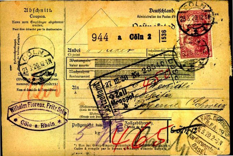 1920: Auslandspacketkarte ab CÖLN 10 in die Schweiz, Germania, ansehen