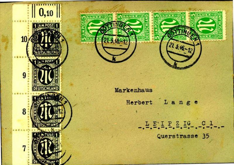1946: Fernbrief ab GÖTTINGEN mit besserer AM-Post-Frankatur (16 C)