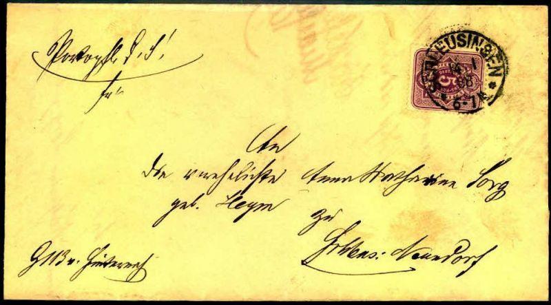 1888: Ortsbrief mit 5 Pfg. in SCHLEUSINGEN. Seltenere Verwendung