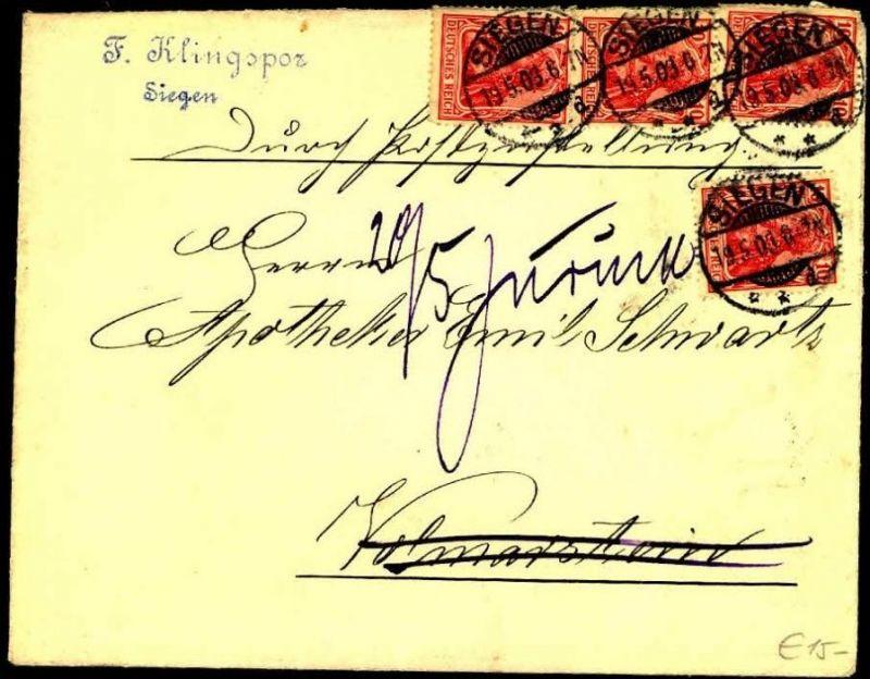 1903: Zustellung mit 4-mal 10 Pfg. Germania ab SIEGEN
