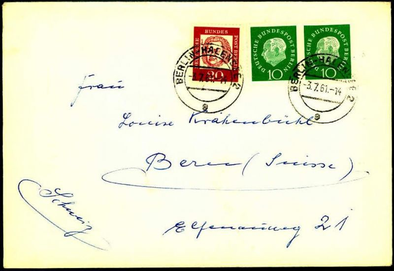 1961: Auslandsbrief mit 10 Pfg. Heuss Medaillon im waagerechten Paar, BERLIN-HALENSEE