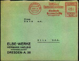 1936: Brief im Sondertarif mit Absenderfreistempel ab DRESDEN