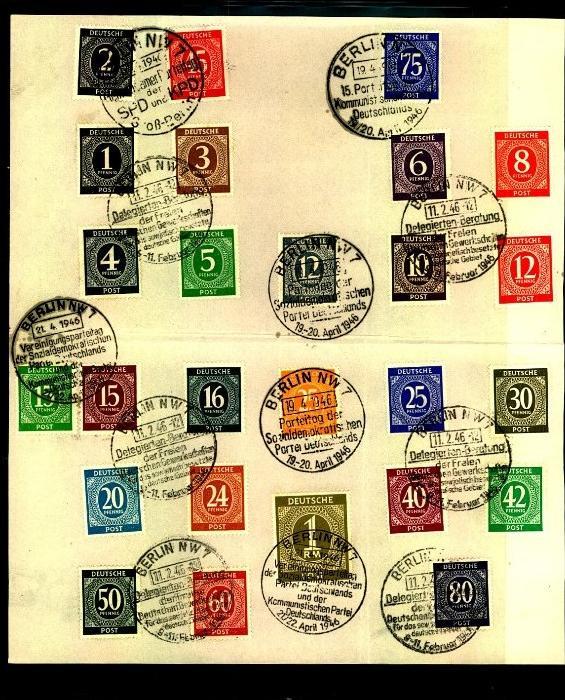 1946: Ziffern ohne 84 Pfg. komplett mit 2 verschiedenen SSt