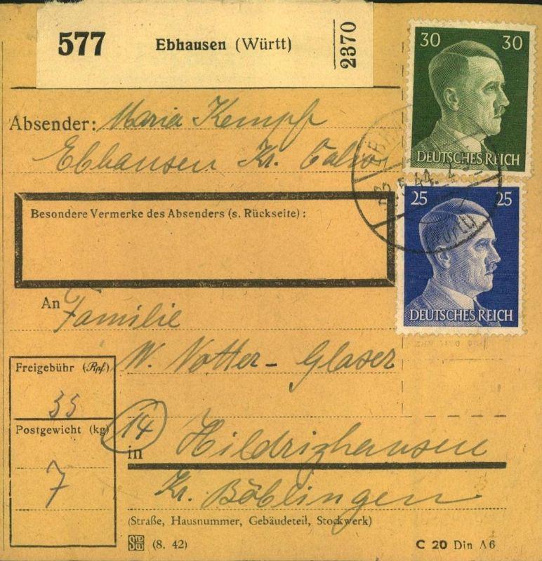 1944 - 3. REICH. 15 Paketkarten aus Baden und Württemberg