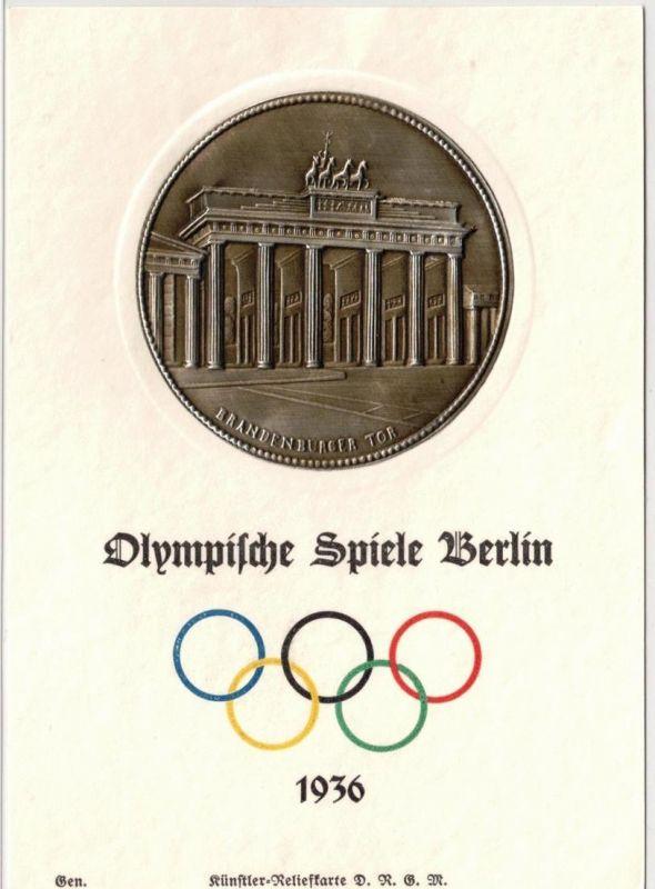 1936, Reliefkarte (embossed card -metal) zu dem Olympischen Spielen mit Abbildung Brandenburger Tor. Sauber ungebraucht.