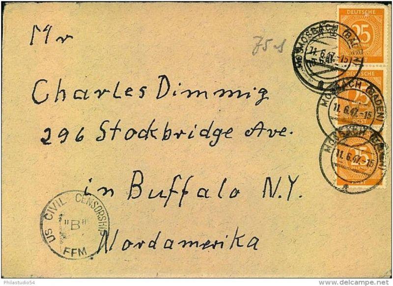 1947: Auslandsbrief mit Zensur ab MOOSBACH nach USA.