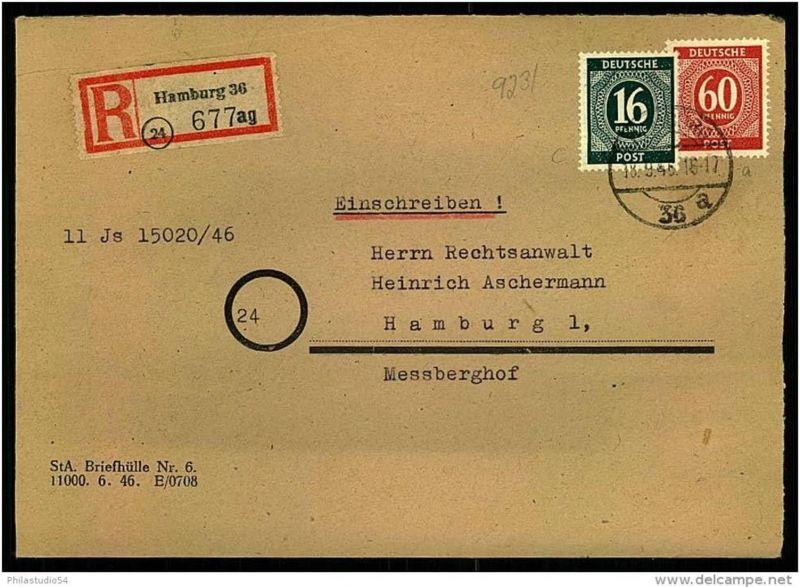 1946: Ortseinschreiben HAMBURG 36 a mit 16 und 60 Pfg. Ziffer.