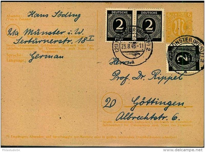 1946: Karte AM-Post+Ziffer ab MÜNSTER (WESTF)