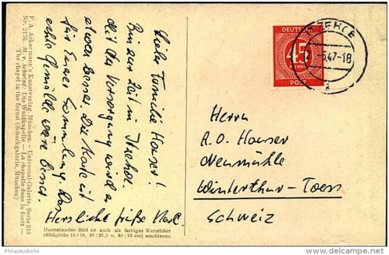 1947: Auslandskarte 45 Pfg. Ziffer ab ITZEHOE