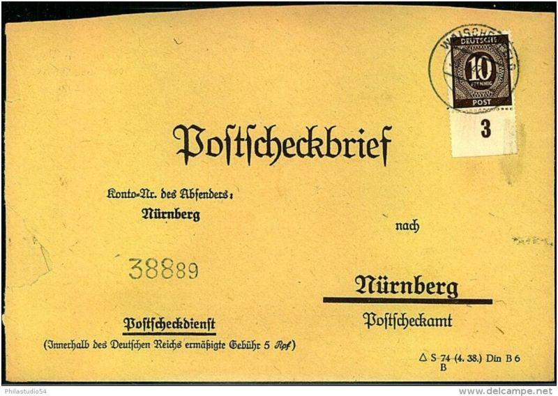 1947: Postscheckbrief mit 10 Pfg. Ziffer von Unterrand als EF ab WISCHENFELD