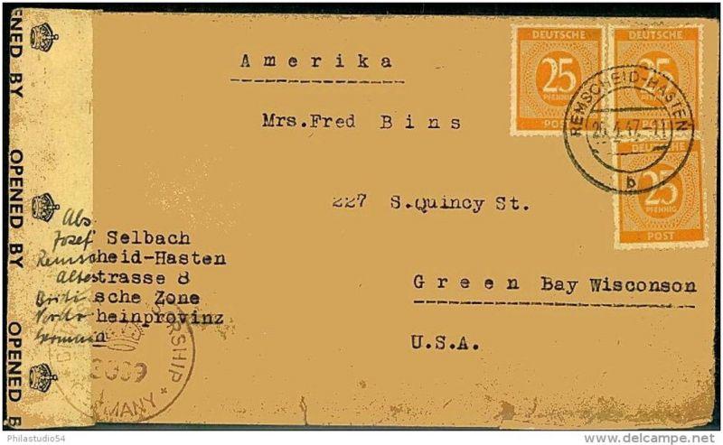 1947: Auslandsbrief 3-mal 25 Pfg. Ziffer ab REMSCHEID-HASTEN, Zensur