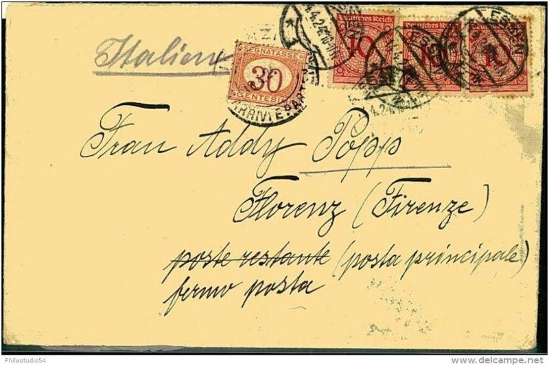 1924: Auslandsbrief 3-mal 10 Pfg. Korbdeckel, italienische Postlagergebühr verklebt