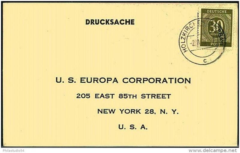1947: 30 Pfg. Ziffer einzeln auf Drucksachenkarte (CARE-Paketbestätigung) in die USA