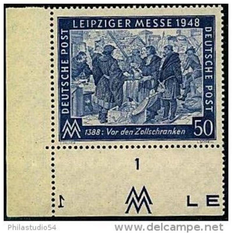 1948: 50 Pfg. Messe, postfrische Bogenecke mit Plattennummer
