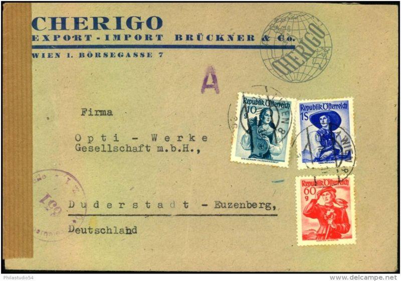 1950: Brief mit Trachten-Frankatur ab WIEN 8 mit seltenem Aufkleber