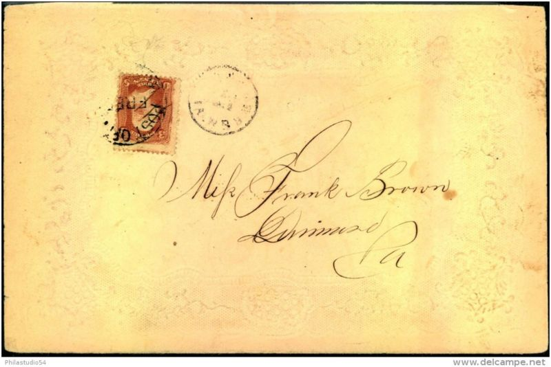 1861 ca.: nice embossed letter franked with 3 Cent Washington (9 x 13 mm grill)