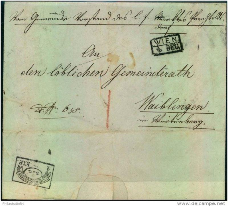 1850: Dienstbrief mit Ra2 WIEN, rückseitig seltener Fahnenstempel PERCHTOLDSDORF 1 EXP.