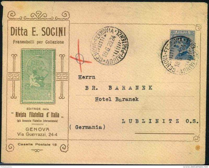 1920, dekorativer Werbeumschlag eines Briefmarkenhändlers aus GENOVA.