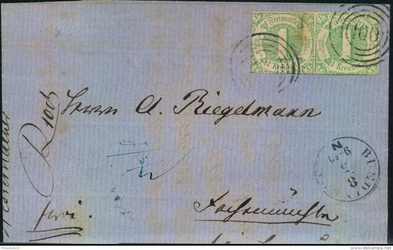 1866, Faltbrief mit waag. Paar 1 Kreuzer druchstochen mit Nummernstempel
