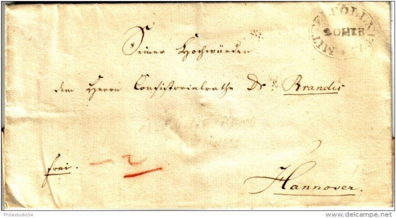 MITTELPÖNITZ, ca. 1835 besserer Ovalstempel der Lehenspostanstalt auf Faltbriefhülle nach Hannover.