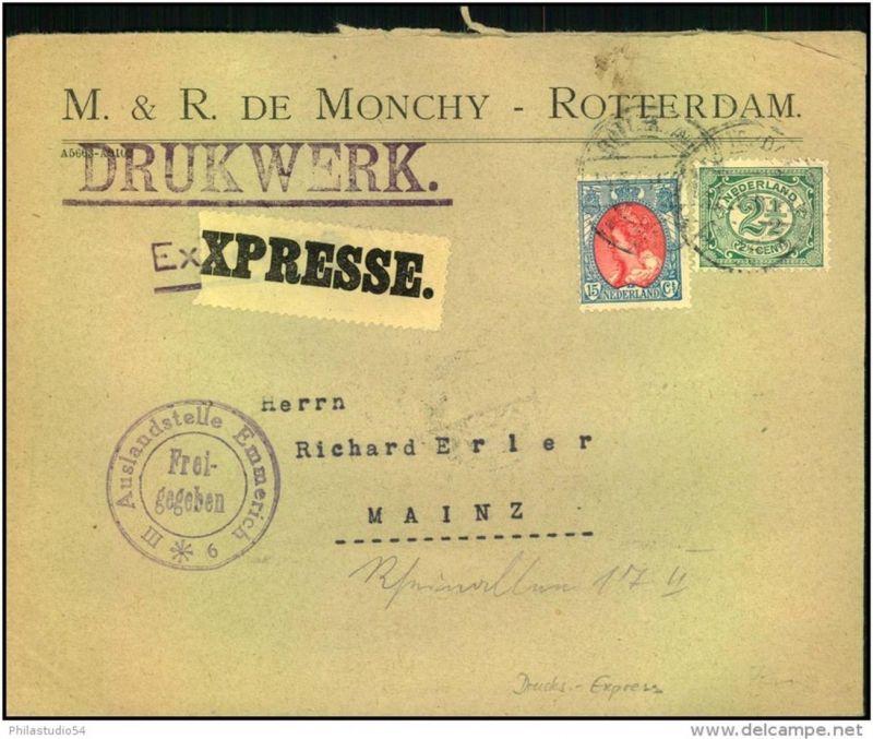 1916: Express-Drucksache ab ROTTERDAM nach Deutschland, Ankunft Mainz 2.4.16. Seltene Verwendung.