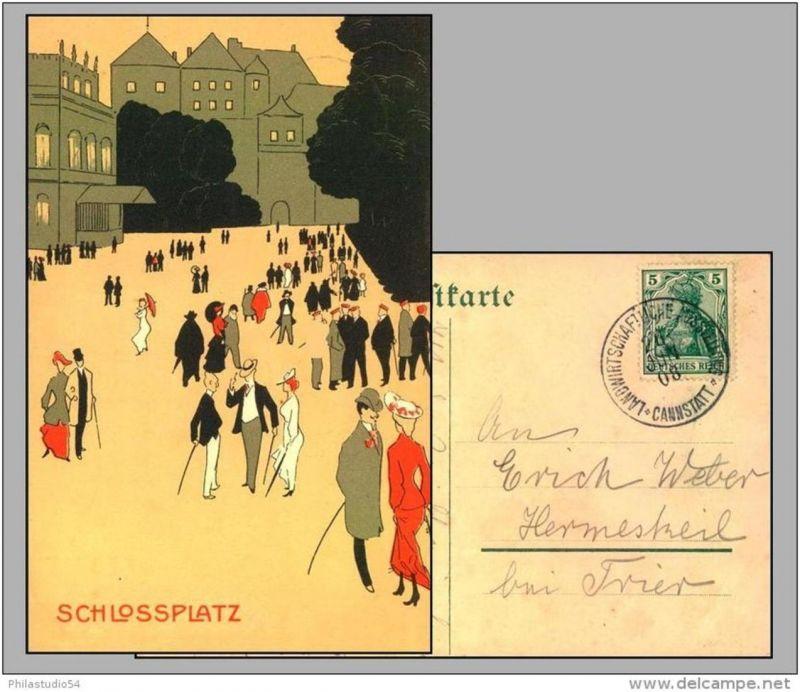 CANNSTADT LANDWIRTSCHAFTLICHE AUSSTELLUNG 26 Jun 08, seltener Sonderstempel auf schöner Postkarte.