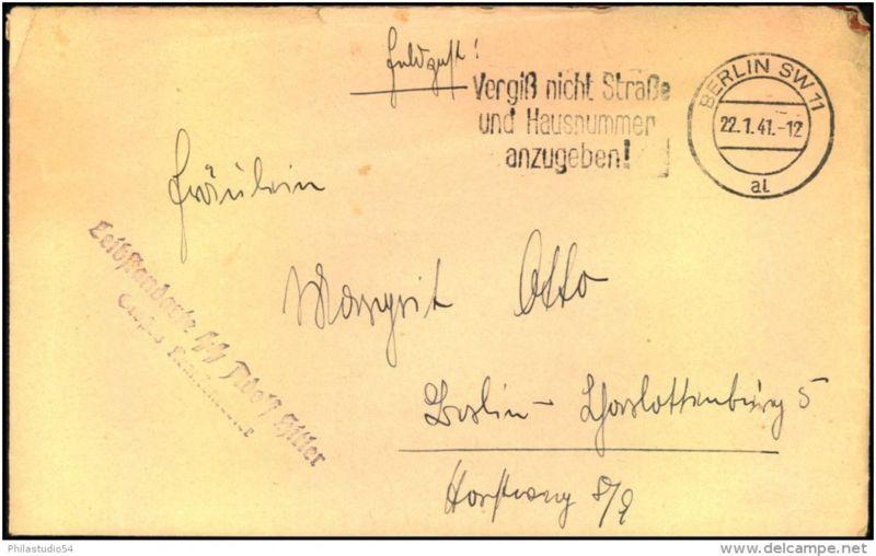 1941: Feldpostbrief ab BERLIN SW 11 al mit Absender L2