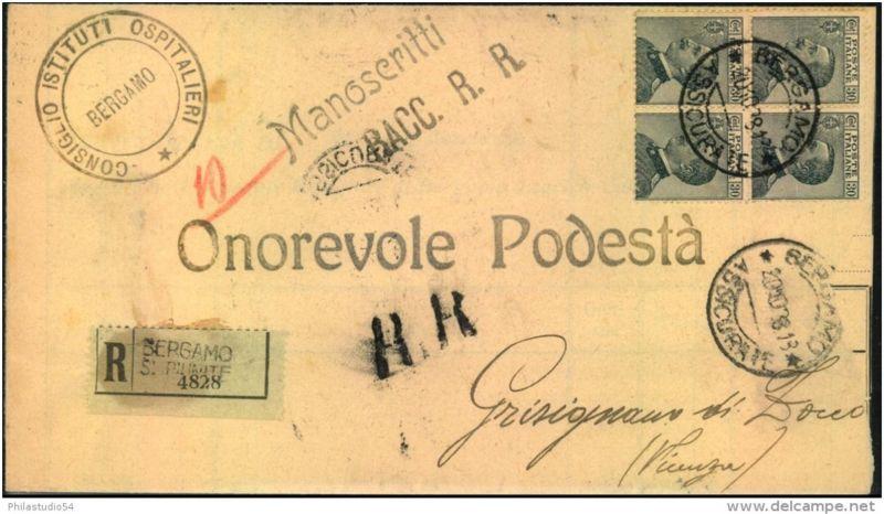 1928: Drucksache-Einschreiben-R ückschein (Manoscritti Racc. R.R.) mit Viererblock 30 Cent. Victor Emmanuel III ab BERGA