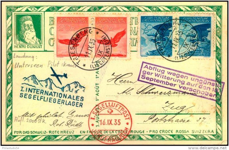 1935: Zuleitung von Triesenberg zur 1. Segelflugpost JUNGFRAUJOCH, bessere Frankatur (Mi-Nr. 145,146)