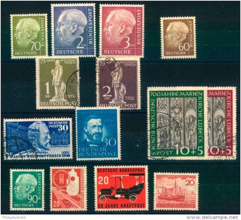 BUND/BERLIN: kleine Briefmarkenpartie mit Spitzenwerten postfrisch, gestempelt