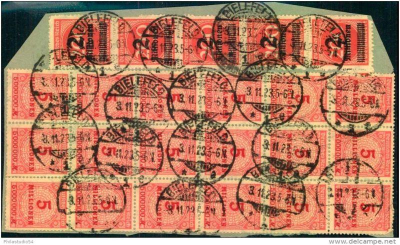 Großes Briefstück mit 5-mal 309 Ba und 17-mal 317 W, geprüft (Kat. 1.000,- +)