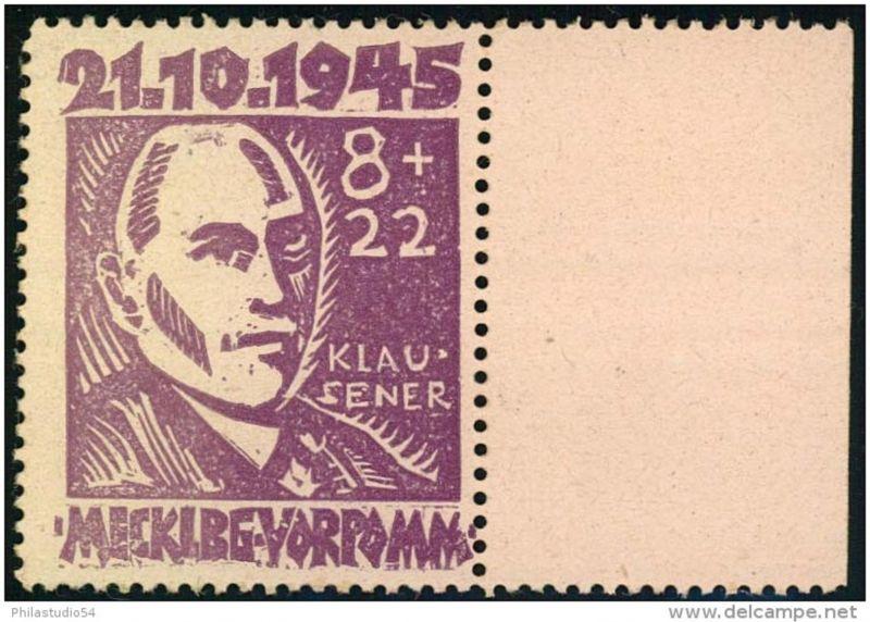 Mecklenburg-Vorpommern: 8+22 Pfg. Klausener postfrisch mit Plattenfehler XII, geprüft Kramp BPP