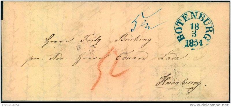 1854: ROTENBURG, sehr seltener Thurn und Taxis K1 auf kleinem Taxbrief nach Hamburg
