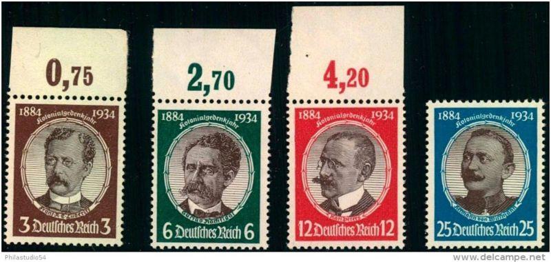 1934: Kolonialforscher postfrischer Satz, teils vom Oberrand