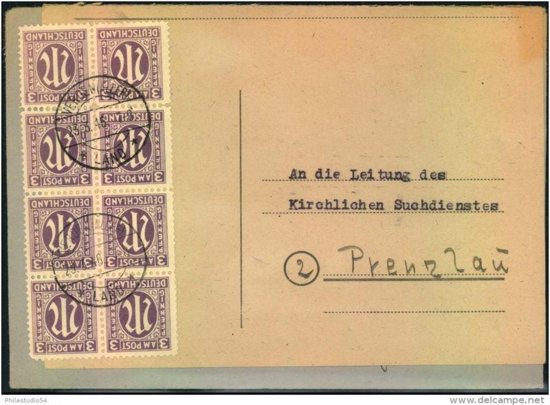 1946: Fernbrief (Suchdienst) mit 8-er-Block 3 Pfg. deutscher Druck ab VERDEN (ALLER) LAND 23.3.46 nach Prenzlau. Eine Ma