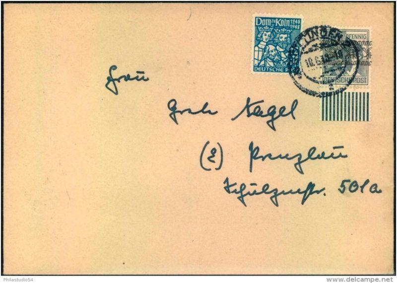 1948: seltene Mischfrankatur 12 Pfg. Arbeiter, Bandaufdruck und 12 Pfg. Kölner Dom ab GÖTTINGEN 2 nach Prenzlau.