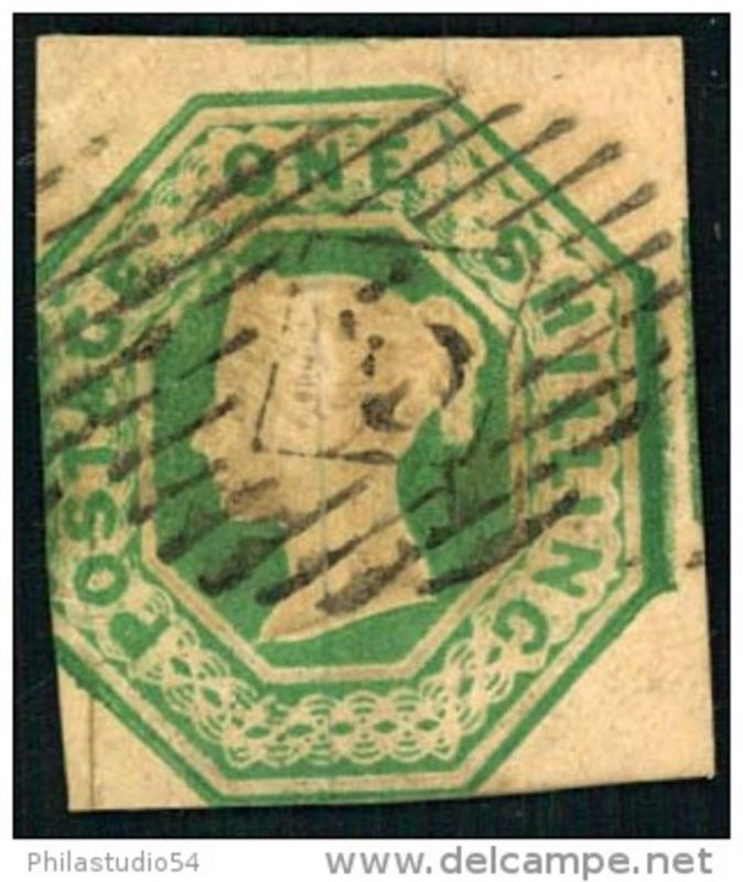 1 Shilling embossed cut square, see picture