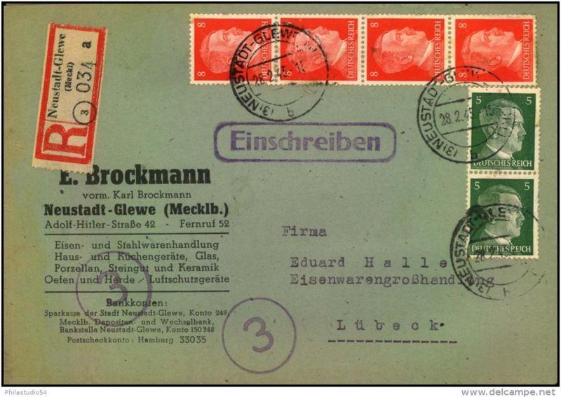 Einschreiben ab (3) NEUSTADT-GLEWE 28.2.45, R-Zettel ebenfalls mit PLGZ (3), nicht bei Schnellbacher gelistet.