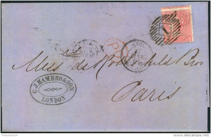 4 d rose, 1857 issue with large garter from LONDON to Paris. (SG 66, cat 175 GBP)