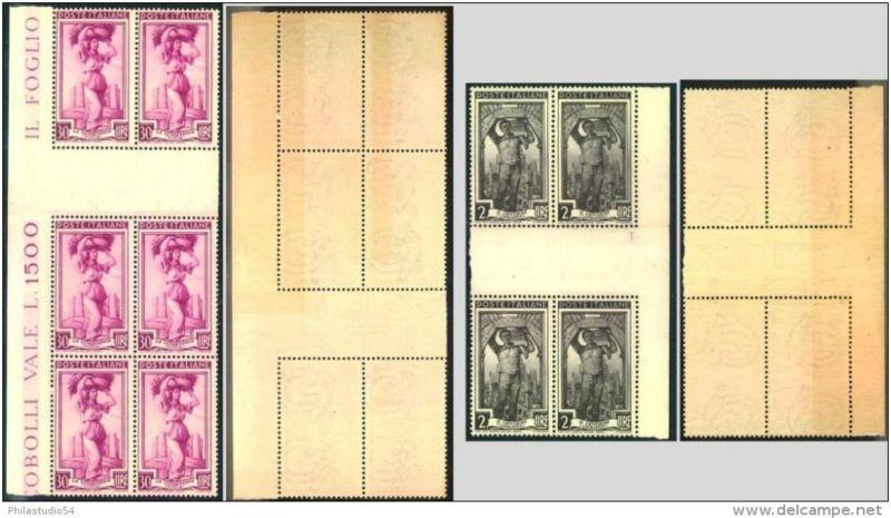2 und 30 Lire postfrische Viererblocks mit Zwischensteg (Michel-Nr. 809/817)