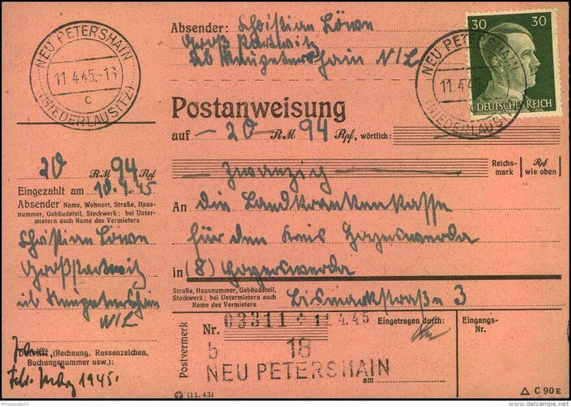 1945: Nicht mehr ausgezahlte Postanweisung mit 30 Pfg. Hitler EF von NEU PETERSHAIN (NIEDERLAUSITZ) 11.4.45 nach Schlesi