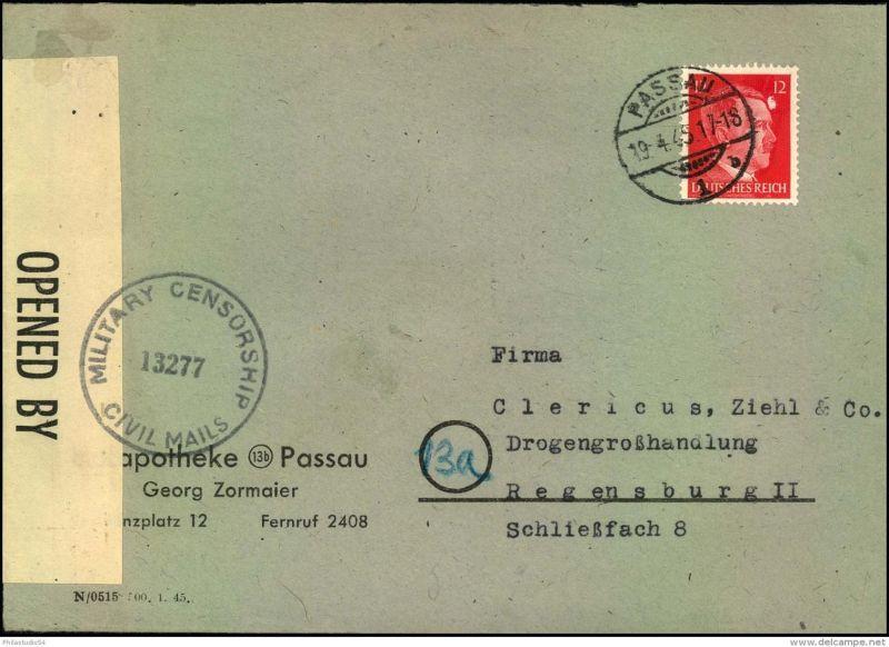 1945: Firmenbrief mit 12 Pfg. Hitler ab PASSAU 19.4.45 nach Regensburg. Überroller mit amerikanischem Zensurstempel MILI
