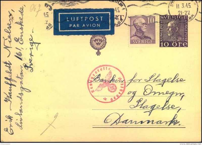 1945: Luftpostkarte aus Stockholm 11.3.45 nach Dänemark mit seltenem Prüfstempel
